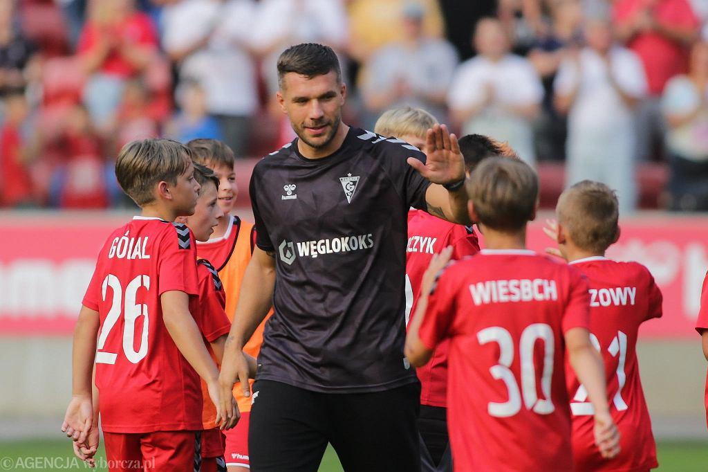 Lukas Podolski podczas spotkania z kibicami Górnika Zabrze po podpisaniu kontraktu