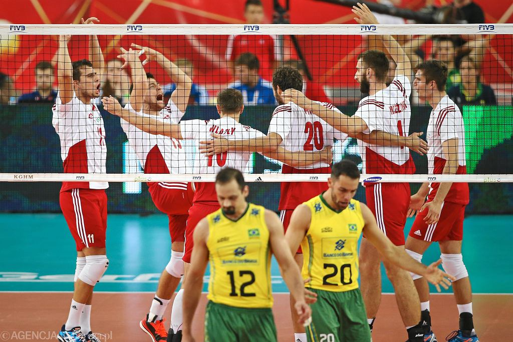 <Mecz Polska - Brazylia . Mistrzostwa Swiata w siatkowce 2014