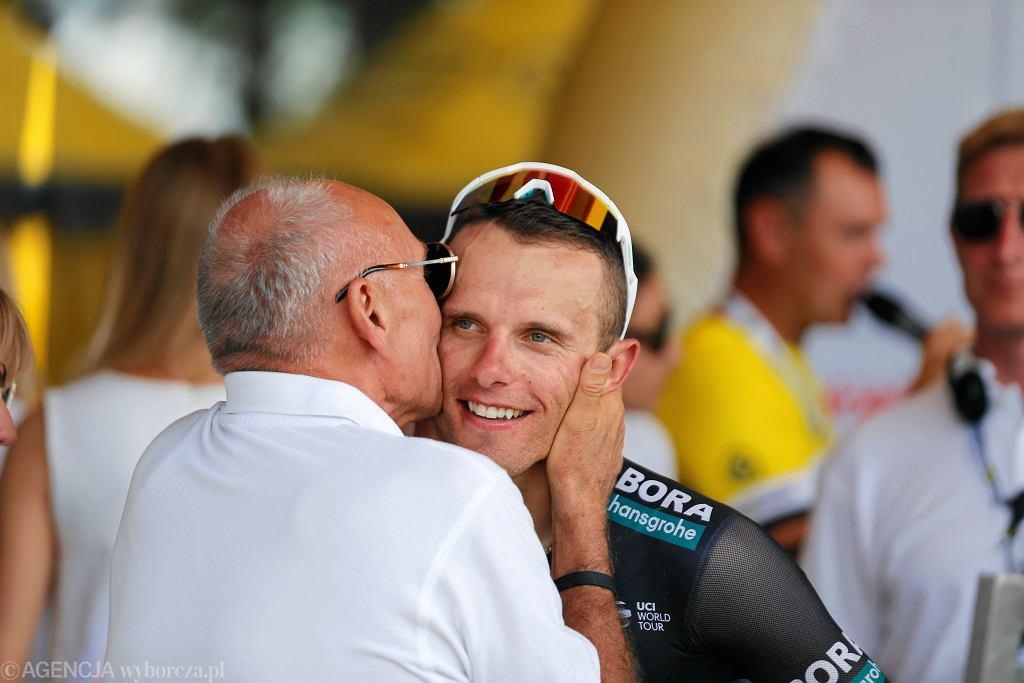 Czeslaw Lang i Rafal Majka na mecie 5 etapu 76. Tour de Pologne. Bielsko-Biała, 7 sierpnia 2019
