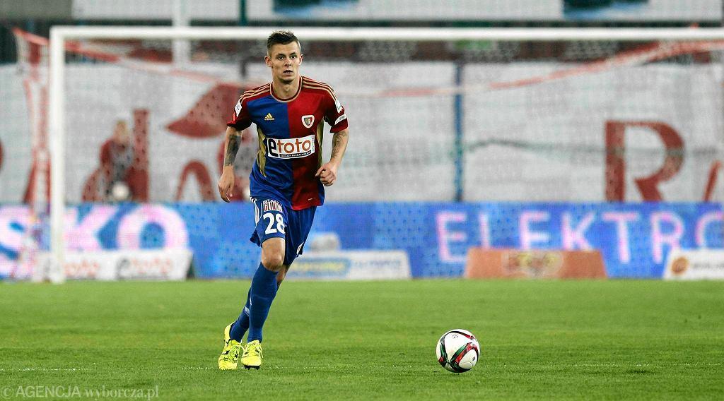 Kornel Osyra w meczu Piast - Korona 0:1