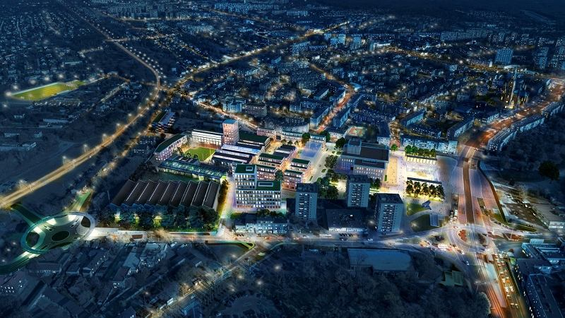 Wizualizacja przestrzeni Fabryki Pełnej Życia w Dąbrowie Górniczej, gdzie odbędzie się Miastolab - festiwal miejskich innowacji
