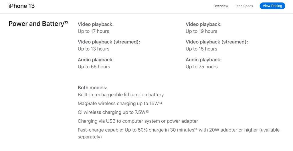 Specyfikacja techniczna dotycząca baterii w iPhone 13