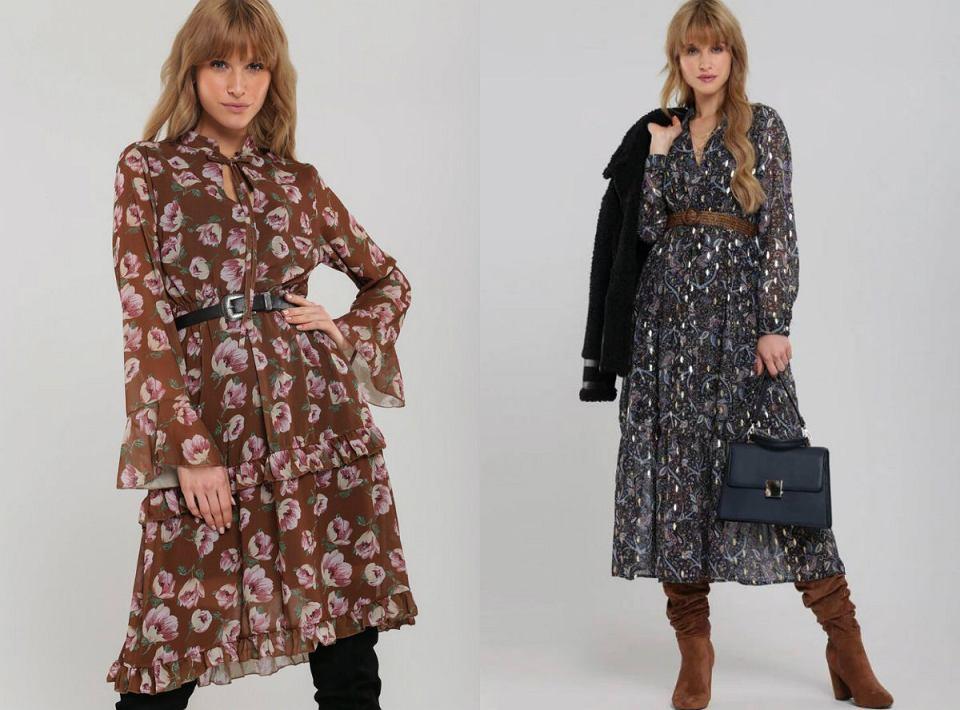 Kwieciste sukienki w zimowej odsłonie