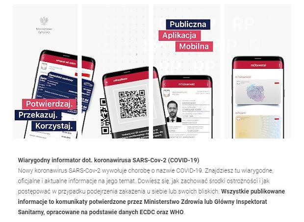 Komunikaty dot. koronawirusa w aplikacji mObywatel