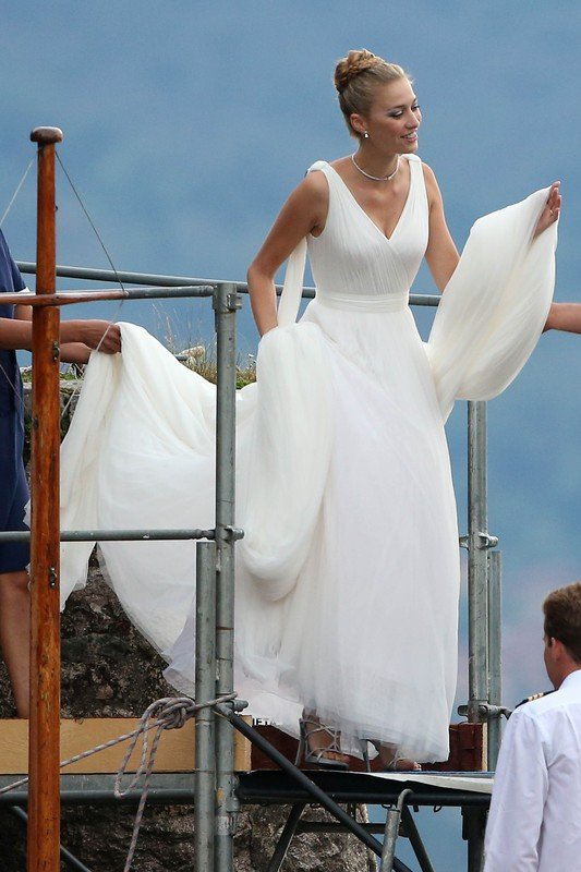Pierre Casiraghi and Beatrice Borromeo with her wedding dress on boat in Maggiore Lake  Pictured: Pierre Casiraghi and Beatrice Borromeo