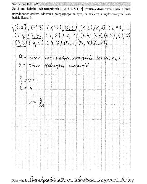 Matura poprawkowa 2016 matematyka, Zad. 34