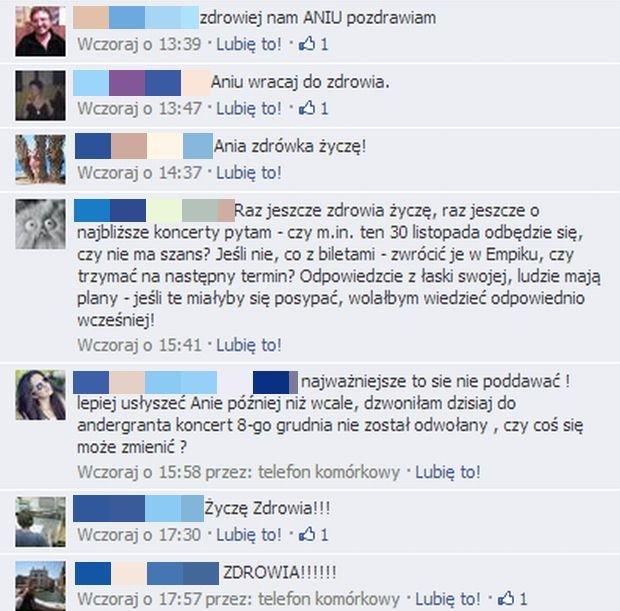 Komentarze fanów Ani Rusowicz