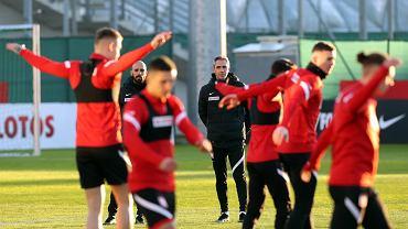Paulo Sousa i piłkarze reprezentacji Polski na treningu przed meczem Węgry - Polska