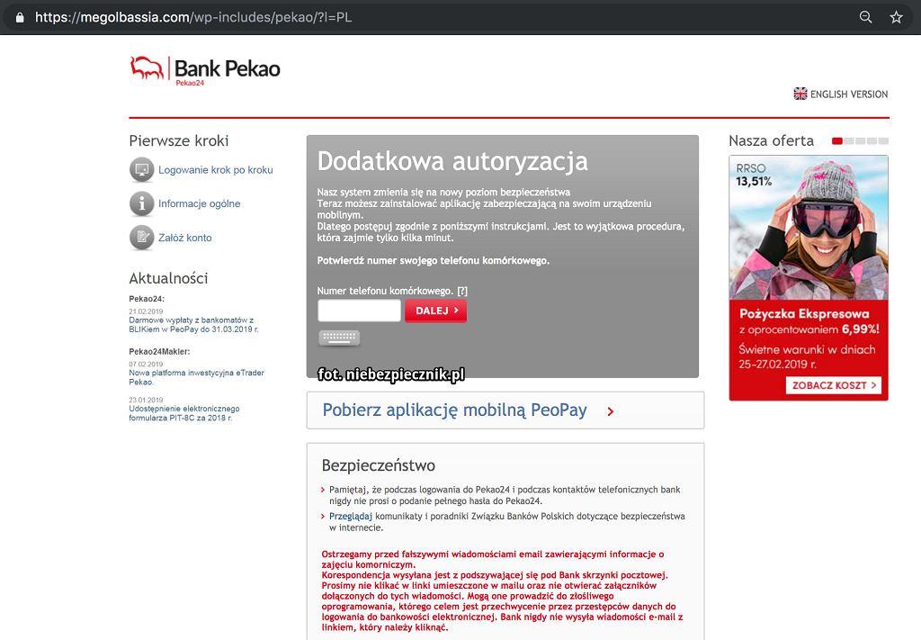 Fałszywa strona Pekao. Źródło: Niebezpiecznik.pl (publikacja za pisemną zgodą)