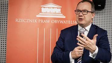 Rzecznik praw obywatelskich Adam Bodnar podczas spotkania z mieszkańcami Poznania, 15 marca 2019