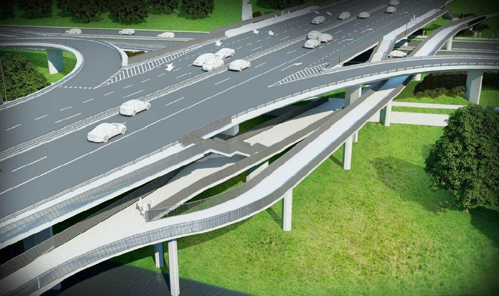 kładki dla pieszych i rowerów na moście Łazienkowskim
