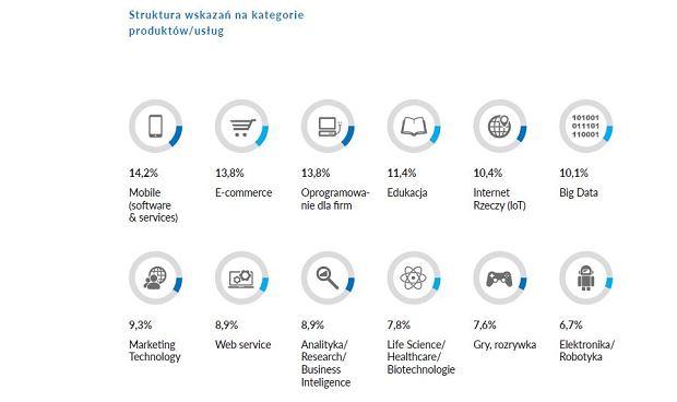 Branże, w których działają polskie startupy