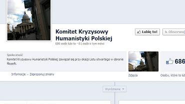 Strona Komitetu Kryzysowego humanistyki Polskiej