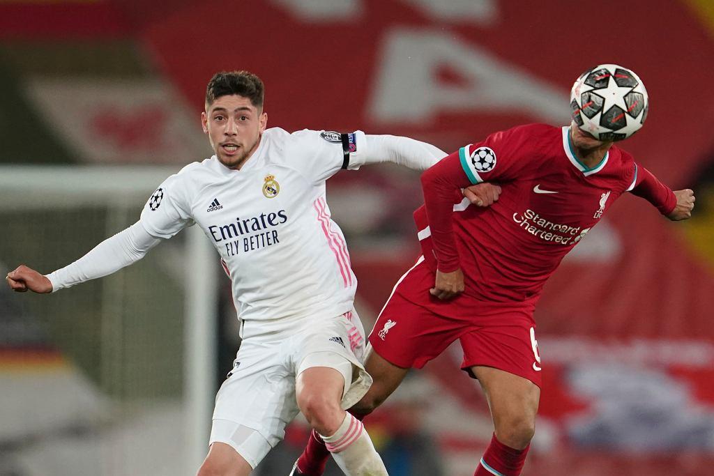 14.04.2021 Liverpool. Zawodnicy podczas meczu Ligi Mistrzów pomiędzy drużynami Liverpool FC i Real Madryt.