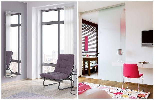 Z lewej: Grzejnik NIAGARA z lustrem, szkło i stal, dostępne różne wymiary, na zamówienie. Z prawej: Na pierwszy rzut oka w ogóle ich nie widać - drzwi przesuwane z matowego szkła sprawdzają się szczególnie w małych mieszkaniach.