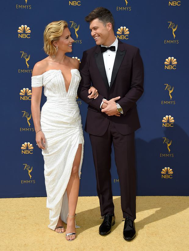 Scarlett Johansson, left, and Colin Jost arrive at the 70th Primetime Emmy Awards on Monday, Sept. 17, 2018, at the Microsoft Theater in Los Angeles. (Photo by Jordan Strauss/Invision/AP)