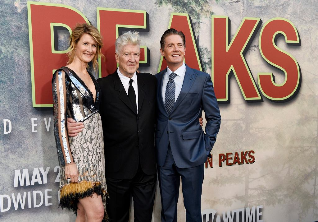 David Lynch, Laura Dern (serialowa Diane Evans), i Kyle MacLachlan (agent Cooper) na premierze 3. sezonu 'Twin Peaks' w Los Angeles, maj 2017
