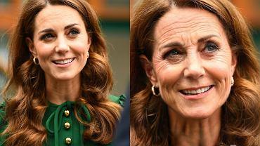 Księżna Kate przed i po przeróbce w aplikacji FaceApp