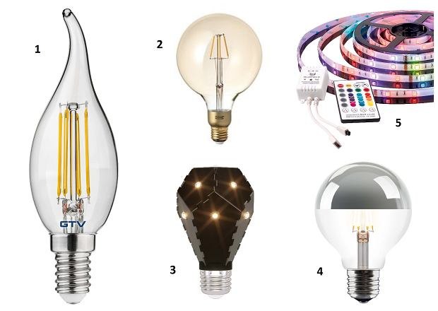 1. Trzonek E14, 400 lm, 9,99 zł, GTV 2. Lunnon trzonek E27, 400 lm, 29,99 zł, IKEA 3. Bloom trzonek E27, 1200 lm, 155 zł, Fabryka Form 4. Vita Copenhagen trzonek E27, około 600 lm, 85 zł, czerwonamaszyna.pl 5. Muzyczna taśma LED dostosowuje światło do rytmu granej przez nas muzyki (ma czujnik dźwięku), dł. 300 cm .około 65?zł, sferis.pl