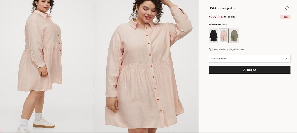 sukienka szmizjerka plus size HM