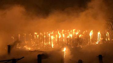 Pożar pomostów w Trzebieży