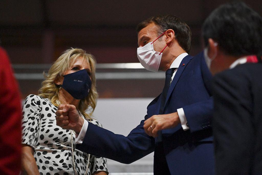 Tokio 2020. Jill Biden i Emmanuel Macron na ceremonii otwarcia igrzysk