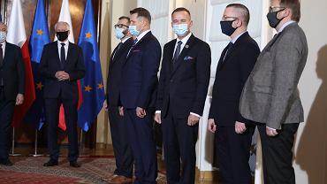 PKonferencja prasowa premiera Morawieckiego w Warszawie w sprawie zmian w rzadzie
