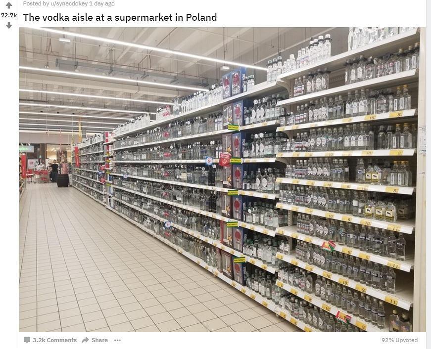 Zdjęcie alejki z polskiego supermarketu szokuje za granicą