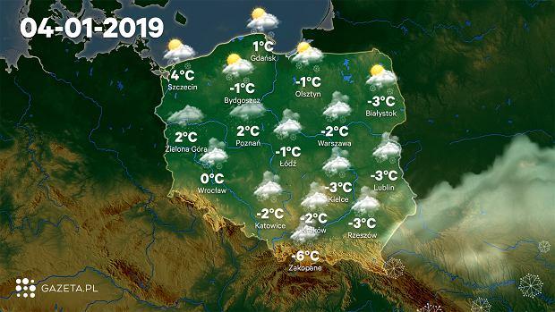 Prognoza pogody na weekend - piątek 4 stycznia