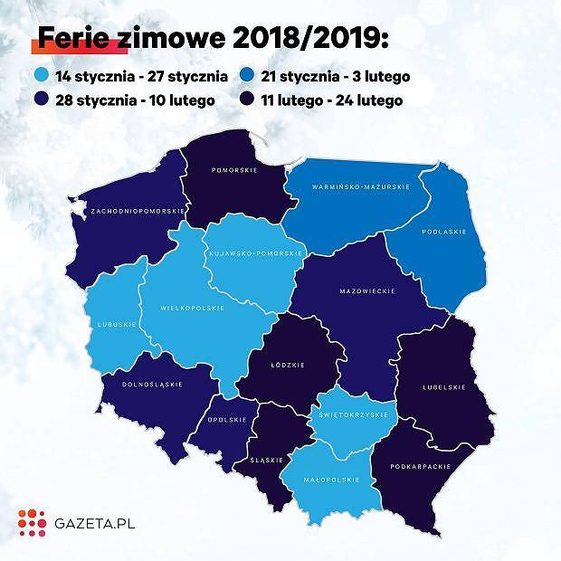 Ferie zimowe 2019 - kalendarium