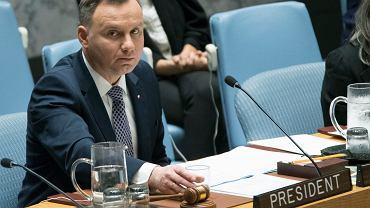 17.05.2018, Nowy Jork, Andrzej Duda podczas posiedzenia Rady Bezpieczeństwa ONZ.