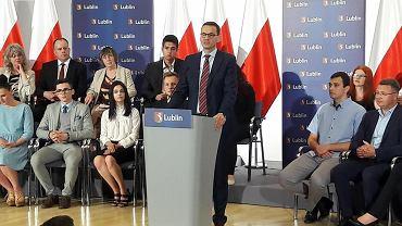 Premier Mateusz Morawiecki na spotkaniu w Lubelskim Urzędzie Wojewódzkim.