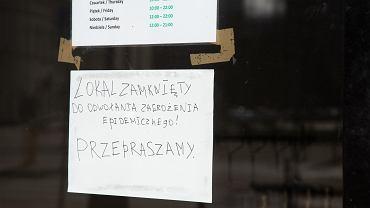 Koronawirus. Zamknięta restauracja