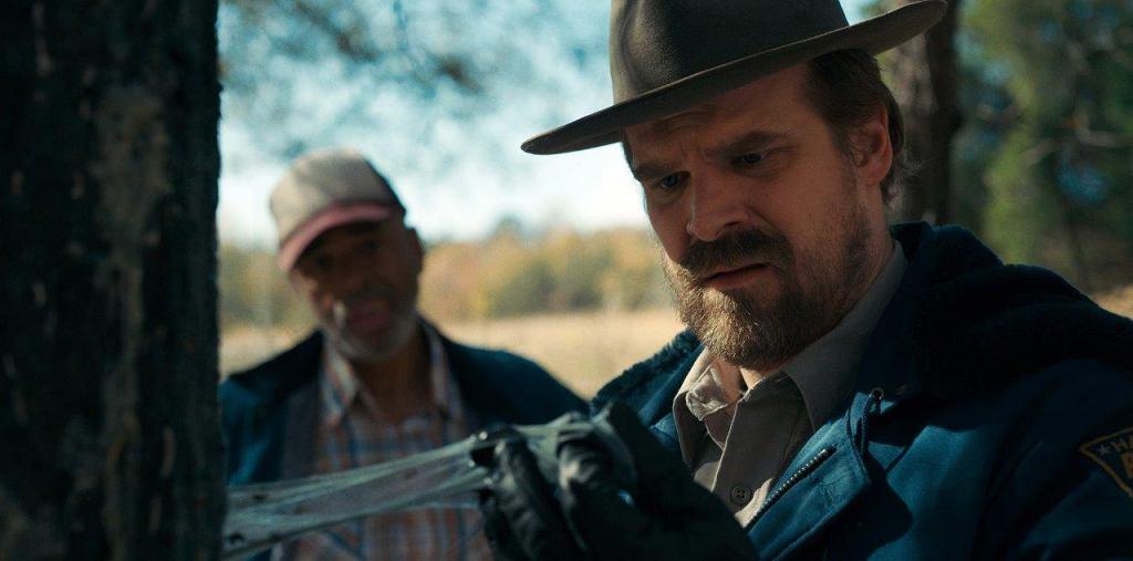 'Stranger Things', sezon 2. Jim Hopper (David Harbour) - Tuszuje wydarzenia sprzed roku, ale nie ufa nowym władze laboratorium. Jedenastce podrzuca jej ulubione gofry