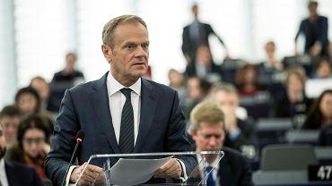 Donald Tusk podczas wystąpienia na forum Parlamentu Europejskiego w Strasburgu, 16 kwietnia 2019 r.