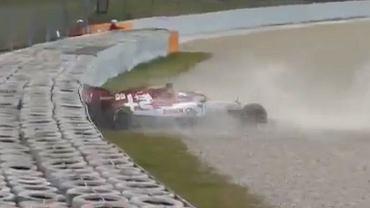 Antonio Giovinazzi uderzył bolidem o ścianę podczas testów w Barcelonie