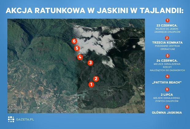 Tajlandia. Mapa pokazuje, jak daleko ratownicy mają do uwięzionych w jaskini chłopców