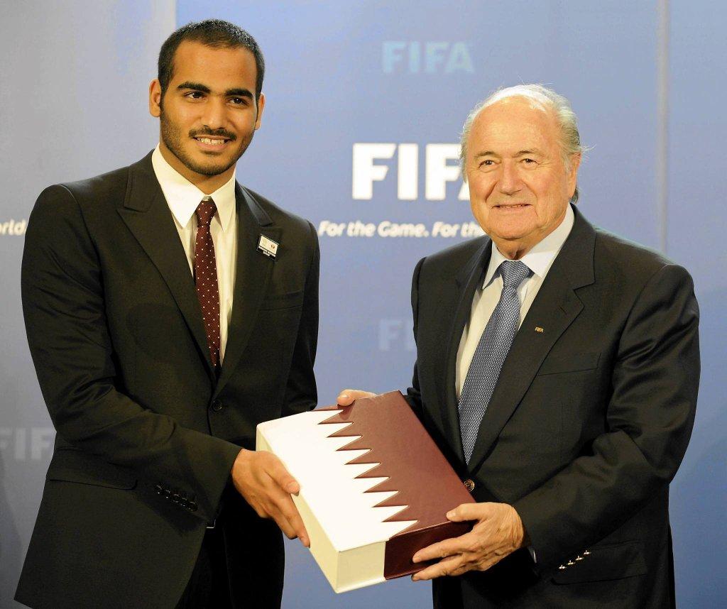 Szejk Mohammed bin Hamad bin Khalifa AI Thani i prezydent FIFA Sepp Blatter