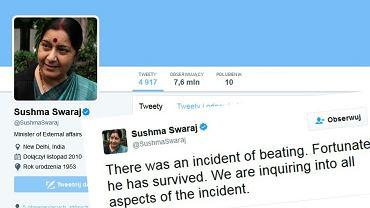 Szefowa indyjskiego MSZ Sushma Swaraj