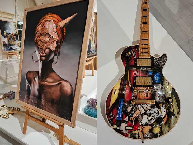 Prace Szymona Chwalisza na wernisażu wystawy 'Sztuka jest kobietą...' w La Vie Skin Gallery