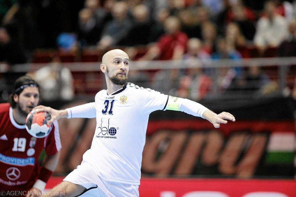 Mistrzostwa Europy w piłce ręcznej 2016. Rosja - Węgry 27:26. Rzuca Timur Dibirow