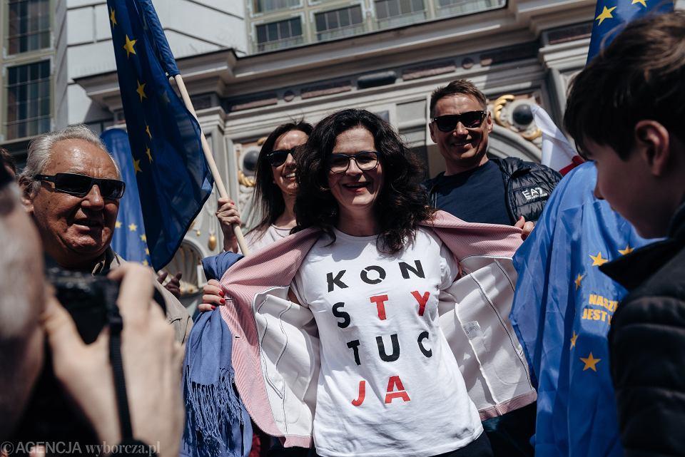 Świętowanie 15. rocznicy wejścia Polski do Unii Europejskiej w Gdańsku, na zdjęciu prezydent miasta Aleksandra Dulkiewicz.