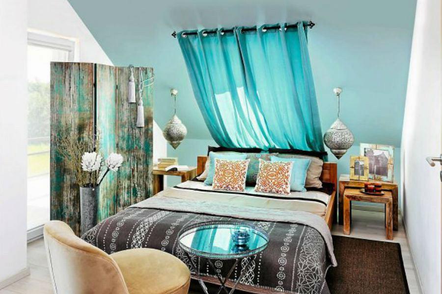Sypialnia w stylu orientalnym.