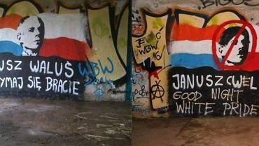 Graffiti popierające Walusia i przerobione przez anarchistów