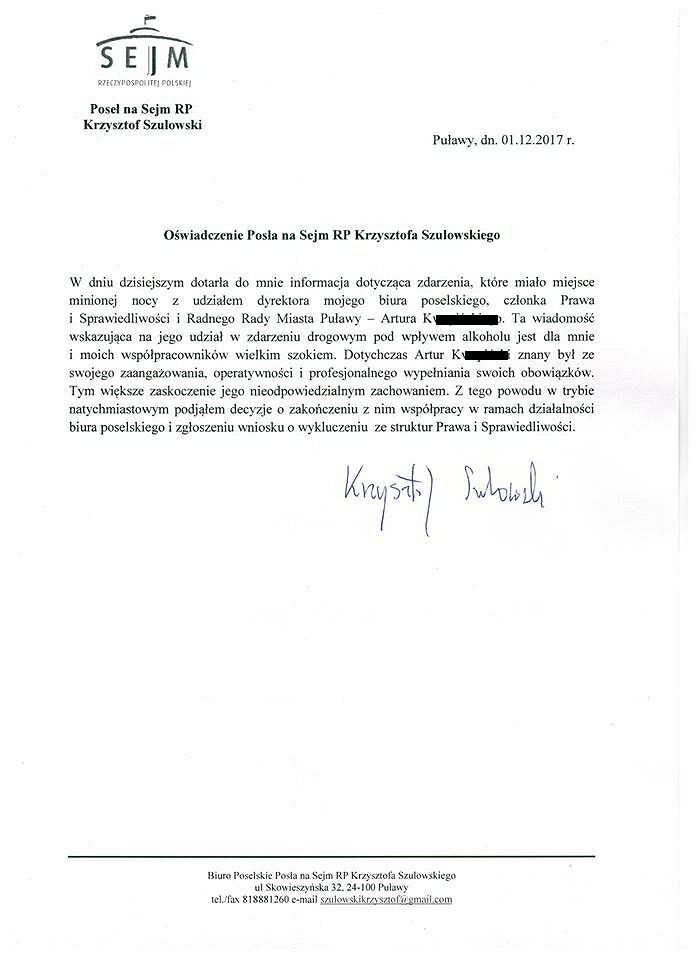 Oświadczenie posła Krzysztofa Szulowskiego ws. Artura K.