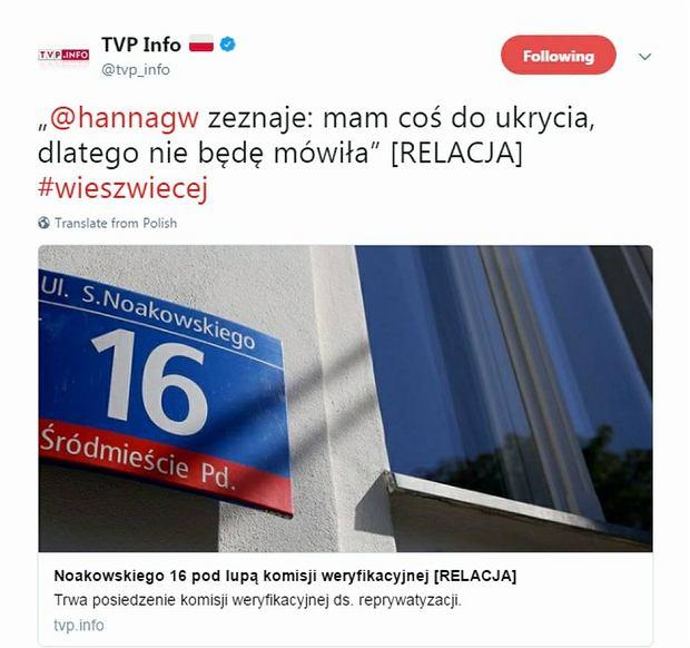 Zrzut ekranu usuniętego Tweeta TVP.info