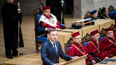 Prezydent Andrzej Duda przemawia na UJ
