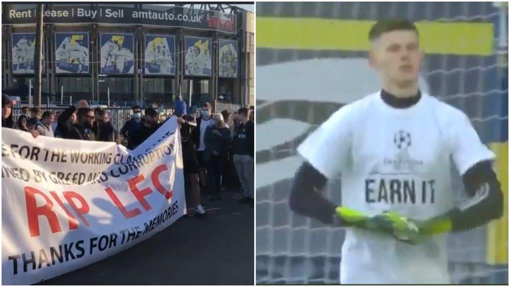 Protest kibiców Liverpoolu i Leeds, a także zawodników Leeds przed meczem Premier League