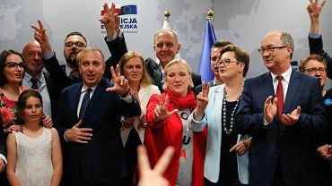 Konwencja Koalicji Europejskiej, m.in Grzegorz Schetyna, Róża Thun, Katarzyna Lubnauer, Włodzimierz Czarzasty. Kraków, 19 maja 2019