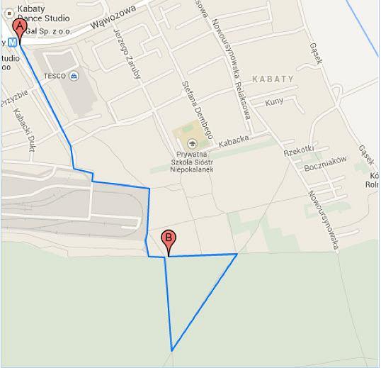 Mapa trasy biegu/marszu solidarności przeciw przemocy